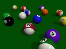 Pool balls on a green billiard table Stock Photos