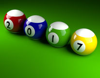Pool balls with 2017. Pool balls on green with 2017,New Year concept 3d rendering Stock Photography