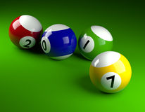 Pool balls with 2017. Pool balls on green with 2017,New Year concept 3d rendering Stock Images