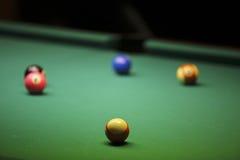 Pool balls on green pool table Stock Image