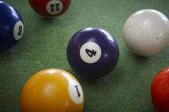 Pool balls on a green table. Royalty Free Stock Image