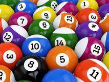 Pool balls. Group of retro colorful glossy pool game balls with numbers stock illustration