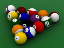 Pool balls hight quality. On green Stock Photography