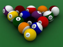 Pool balls hight quality. On green Stock Image