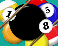 Pool balls illustration. Illustration of pool balls with room for the text in the 8-ball vector illustration
