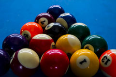 Pool balls. Line up in the triangle Royalty Free Stock Photography