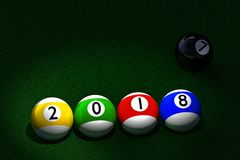 Pool balls with 2018 New Year date imprinted. 3D rendering of four striped pool balls with 2018 New Year date imprinted, and black ball with number seven Royalty Free Stock Images