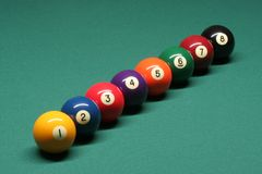 Pool balls from number 01 to 08. In pool table stock photos