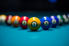 Pool balls on the pool table Royalty Free Stock Photos