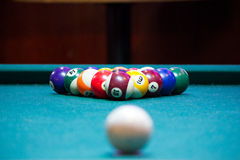 Pool Balls on a Pool Table. Pool balls on a green felt pool table, racked and ready to break. The cue ball is visible, out of focus in the foreground Stock Photography