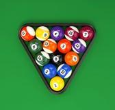 Pool balls pyramid on green cloth Stock Photos
