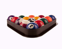 Pool Balls in rack. On white Stock Photography