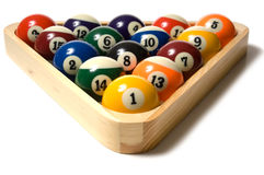 Pool balls in Rack stock photography