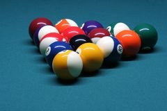 Pool balls in rack position. In pool table royalty free stock photography