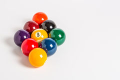 Pool balls. Racked for nine ball on white background Royalty Free Stock Images