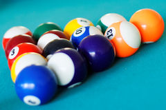 Pool balls racked in triangle. Closeup of pool balls racked in triangle on a pool table Stock Image