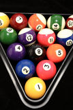 Pool balls racked up. A rack of colorful pool balls Royalty Free Stock Image