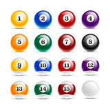 Pool Balls. A set of pool/billiard ball icons Stock Images