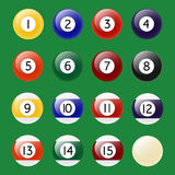 Pool Balls set. Colored Pool Balls. Numbers 1 to 15 and zero ball. Vector EPS10 illustration Stock Images