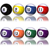 Pool balls set over white. Cue and eight to fifteen pool balls isolated over white Stock Image