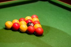 Pool balls set up on a pool table. Taken at an angle Stock Images