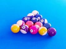 Pool balls setup on a pool table Stock Photography