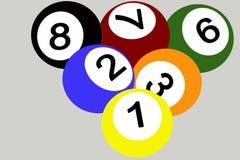Pool balls. Seven color pool balls 2D drawing Royalty Free Stock Image