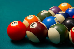 Pool balls. shallow DOF. Colored pool balls on felt, shallow DOF royalty free stock image