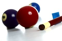 Pool Balls and stick with chalk Stock Photo