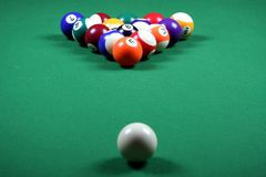 Pool Balls and Table Stock Photo