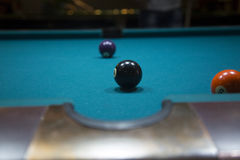 Pool balls on table. Billiard game Stock Images