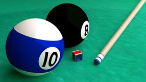 Pool balls on table. This picture is made entirely in a 3D software program and consists of two pool balls on a pool table, a cue and the cue tip sharpener Royalty Free Stock Images