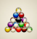 Pool balls triangle Royalty Free Stock Images
