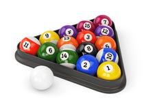 Pool balls triangle Stock Photo