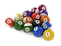 Pool balls triangle group Royalty Free Stock Images