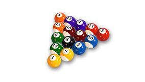 Pool balls in various colors, billiard balls arranged on white background Royalty Free Stock Photo