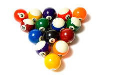 Pool Balls on white. Brightly colored, new pool balls or billiard ballsl on white background, lined up in triangle Royalty Free Stock Photos