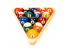 Pool Balls on white. Brightly colored, new pool balls or billiard ballsl on white background, lined up in triangle in rack Stock Image