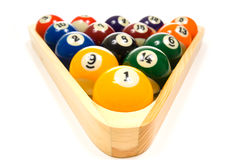 Pool Balls on white. Brightly colored, new pool balls or billiard balls on white background, lined up in triangle in rack Stock Photography