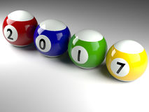 Pool balls with the Year 2017 Stock Images