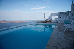 Pool and bar in Imerovigli Santorini Island, Greece Royalty Free Stock Photo