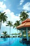 Pool with bar on ocean coast Royalty Free Stock Photos