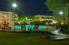 Pool bar ready for evening party at Sithonia. Greece Stock Images