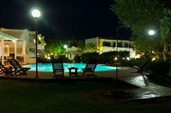 Pool bar ready for evening party. Somewhere in Greece Stock Image