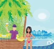 Pool bar. In the tropics,  illustration Stock Photo