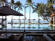Koh Samui Hotel Pool. Pool and beach at breakfast time at hotel in Koh Samui stock photography