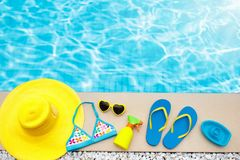 Pool and beach items flat lay. Summer vacation. stock photography