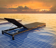 Pool bed and dusky sky sun set Royalty Free Stock Photo