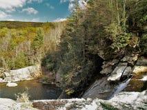 Elk Falls. Pool below Elk Falls near Elk Park, North Carolina in the Toecane Ranger District of the Pisgah National Forest stock photos