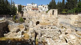 Pool of Bethesda ruins in Old City Jerusalem stock photo